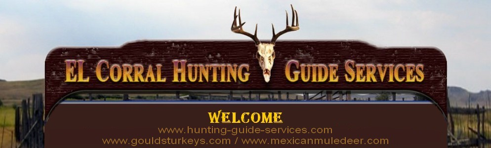 image of hunting-guide-services.com and gouldturkeys.com logo with their name and deer antlers hanging from a welcome sign